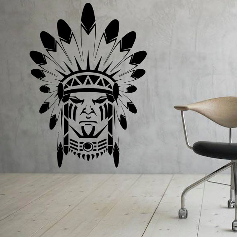 Free Shipping Modern Design Wall Stickers Home Decor Native American Indian Removable Vinyl Art Decal Creative Murals In From
