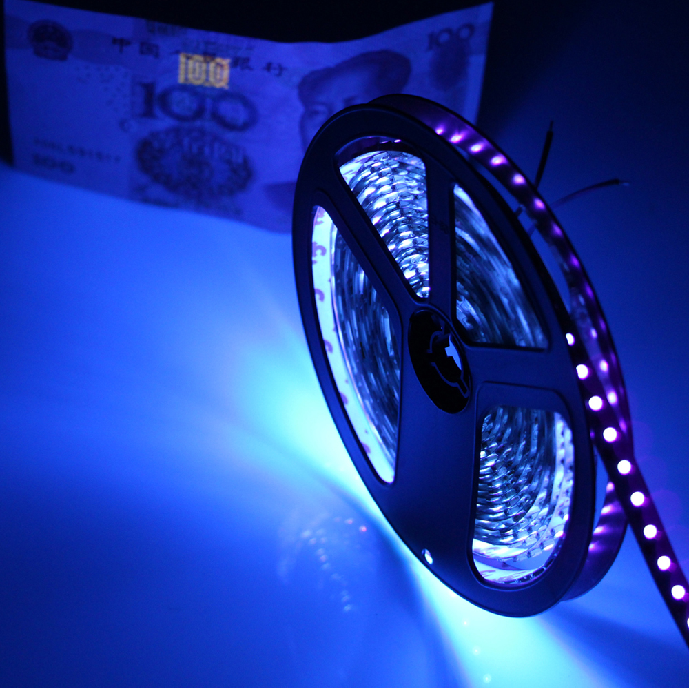 Uv black light 5050 smd led strip light waterproof ip65non uv black light 5050 smd led strip light waterproof ip65non ultraviolet 395 405nm tape ribbon lamp for dj fluorescence party in led strips from lights aloadofball Images