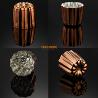 CHEFMADE Copper Canele Mold, 2 Inch Cannele Muffin Cup, FDA Approved Tinned Interior Made In Italy 4pcs