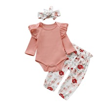 Newborn Baby Girl Clothes 3pcs/set Pink Red Cotton Cute Romper + Floral Print Trousers+ Headband Infant Kid Outfits D20 цена