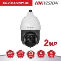 Original Hikvision PTZ IP Camera DS 2DE4225IW DE 2 Megapixel Motorized 25X Zoom Speed Dome CCTV Camera IR 100m Lens 4.8 120mm