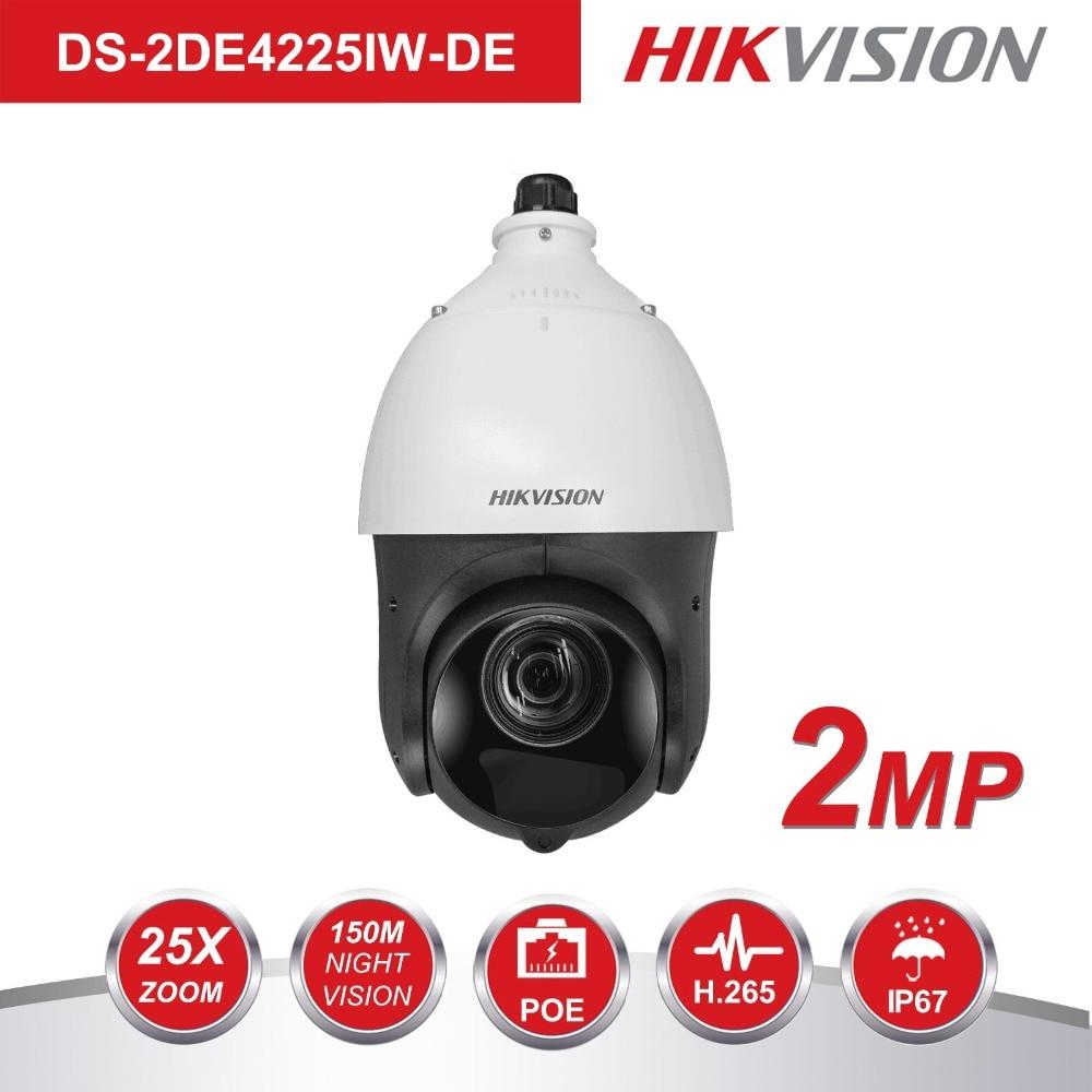 Original PTZ Megapixel Câmera IP DS-2DE4225IW-DE 2 25X Motorizado Zoom Speed Dome CCTV Câmera 100 m IR Lente 4.8- 120 milímetros