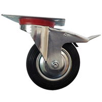 4x Swivel Caster Wheels Rubber Base With Top Plate Bearing Heavy Duty