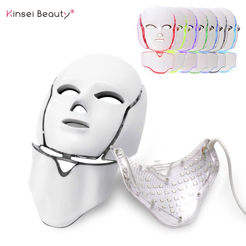 7 Colors Light LED Facial Mask With Neck Skin Rejuvenation Face Care Treatment Beauty Anti Acne