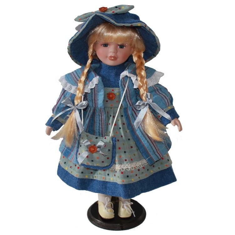 40cm blue dress porcelain  girl doll European rural Field Village ceramic doll style home decoration Christmas gifts40cm blue dress porcelain  girl doll European rural Field Village ceramic doll style home decoration Christmas gifts