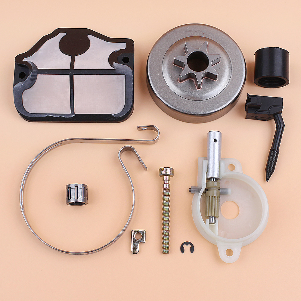Clutch Drum Oil Pump Chain Tensioner Brake Band Kit For HUSQVARNA 142 141 137 136 36 41 Chainsaw Gas Chain Saws Spares