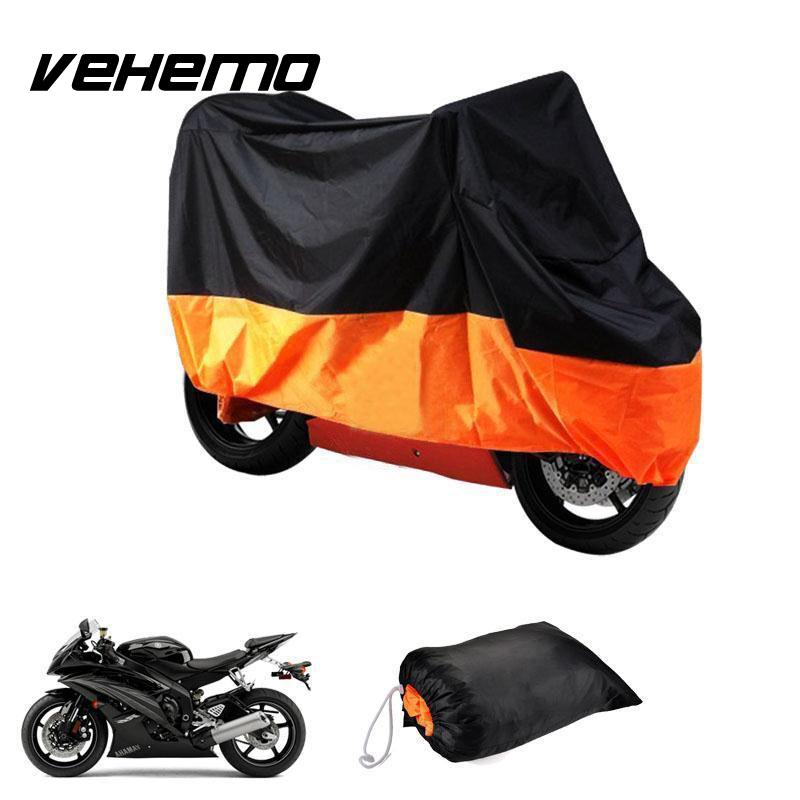 Vehemo Polyester Taffeta Motorcycle Cover Motorbike Scooter Outdoor Protective Rain Dust Anti-Wind Protector Cover Waterproof