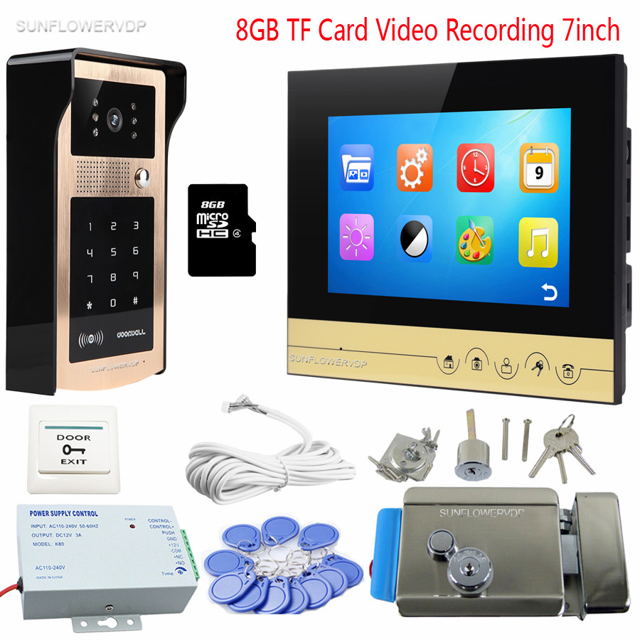 Rfid Code Panel Home Video Door Phone 8GB TF Card Recording Monitor Intercom Door Bell 7 Door Camera Intercom With Door Lock 1 set video intercom improvement tool door phone 7 touch monitor with rfid card unlock release function door bell system