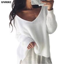 UVKKC Sexy Off Shoulder Split knitted Sweater Women Brand Black pullovers knitwear Autumn winter 2019 white Jumper Pull femme(China)