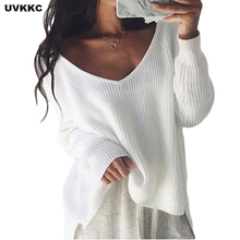 UVKKC Sexy off shoulder split knitted sweater Women brand black pullovers knitwear Autumn winter 2018 white jumper pull femme