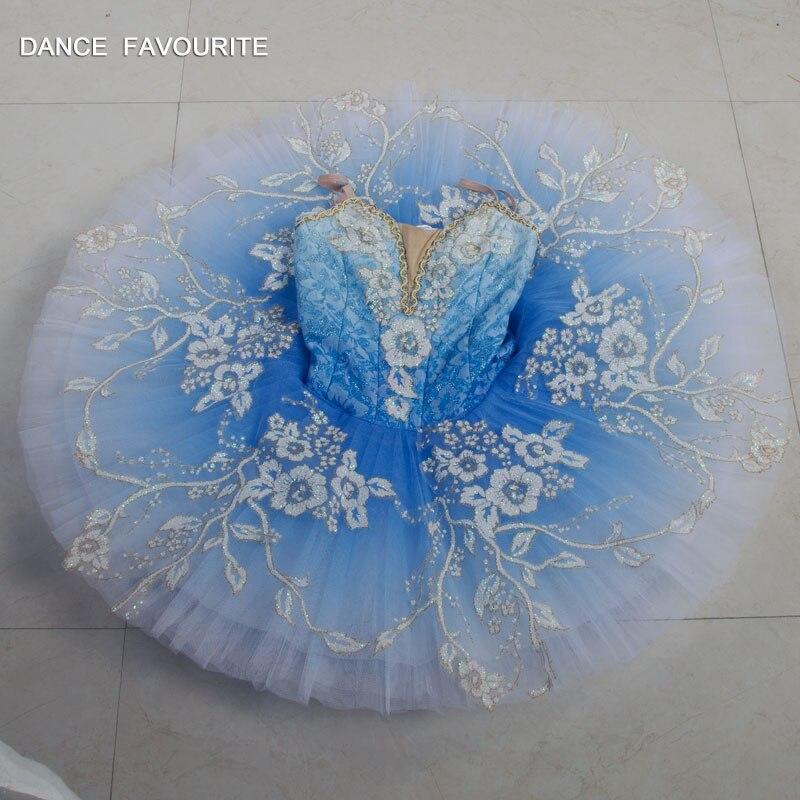 B18043 professionnel costume de danse ballet tutu ballerine classique crêpe tutu fille et femmes client taille bleu ballet tutu