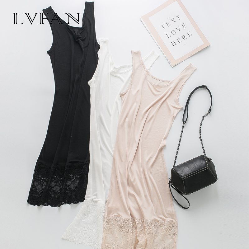 Image 3 - spring summer new pure color silk lace hollowed out printing fashionable stitching slim dress silk sole skirt LVFAN Y036-in Camisoles & Tanks from Underwear & Sleepwears