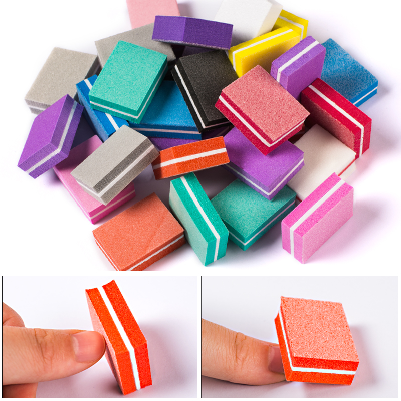 MEET ACROSS 50Pcs/set Mini Nail File Blocks Colorful Sponge Nail Polish Sanding Buffer Strips Nail Polishing Manicure Tools