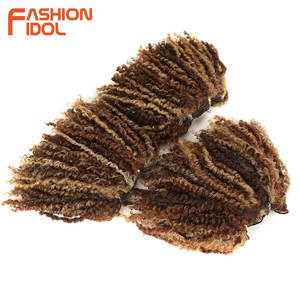 Image 4 - FASHION IDOL Mongolian Afro Kinky Curly Weave Hair Bundles Full Head 3Pcs/Pack 6 Inch Synthetic Hair Extension Free Shipping