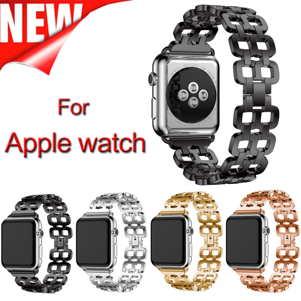 New style Metal Wristband Stainless Steel men women's Link Bracelet 38mm 42mm Smart Watch Band For Apple Watch Series 3 2 1 new men black gold silver metal watch band stainless steel bracelets for sports watch smart watch for gramin fenix 3