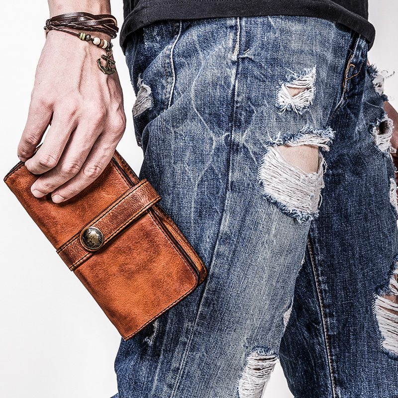 Retro mens long wallet genuine leather youth personality wallet male brown leather mobile phone clutch bag card holder walletsRetro mens long wallet genuine leather youth personality wallet male brown leather mobile phone clutch bag card holder wallets