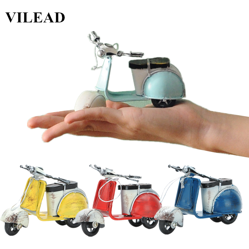 VILEAD American Little Sheep Iron Motor Figurines Vintage Home Decor Motorcycle Roman Holiday Souvenirs Christmas Decoration