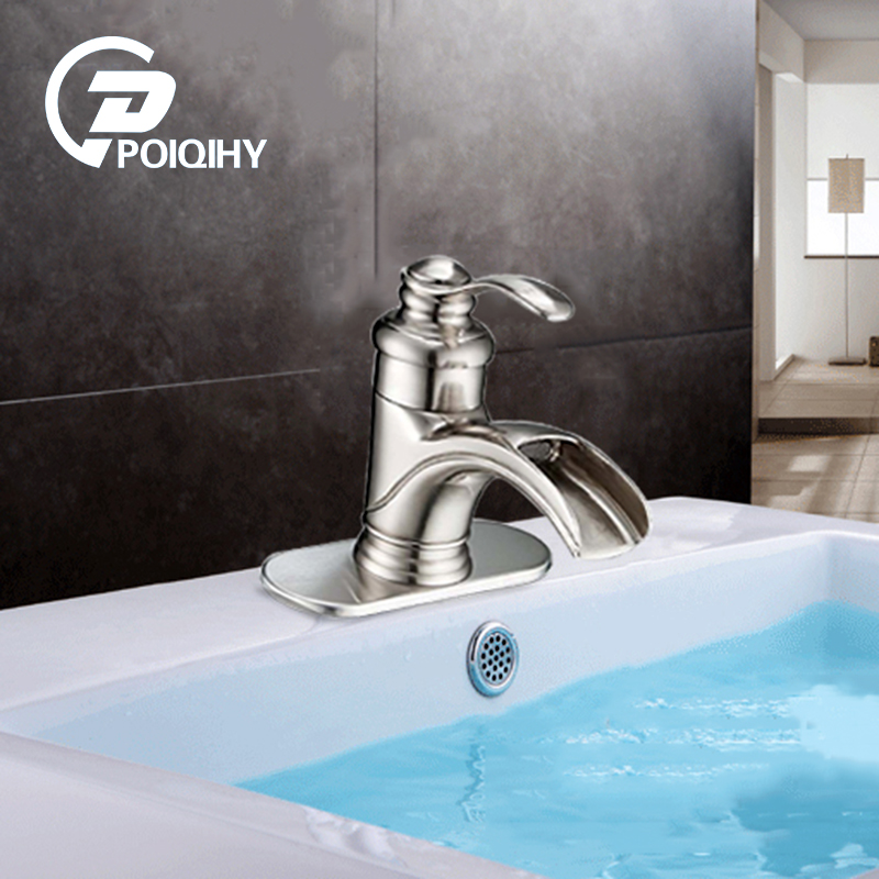 POIQIHY Bathroom Basin Faucet Waterfall Spout Orb & Brushed Nickel Single Handle Vanity Sink Mixer Taps Brass Deck Mounted Tap quyanre waterfall basin faucet blackend orb nickel single handle mixer tap sink vanity faucet bathroom basin tap