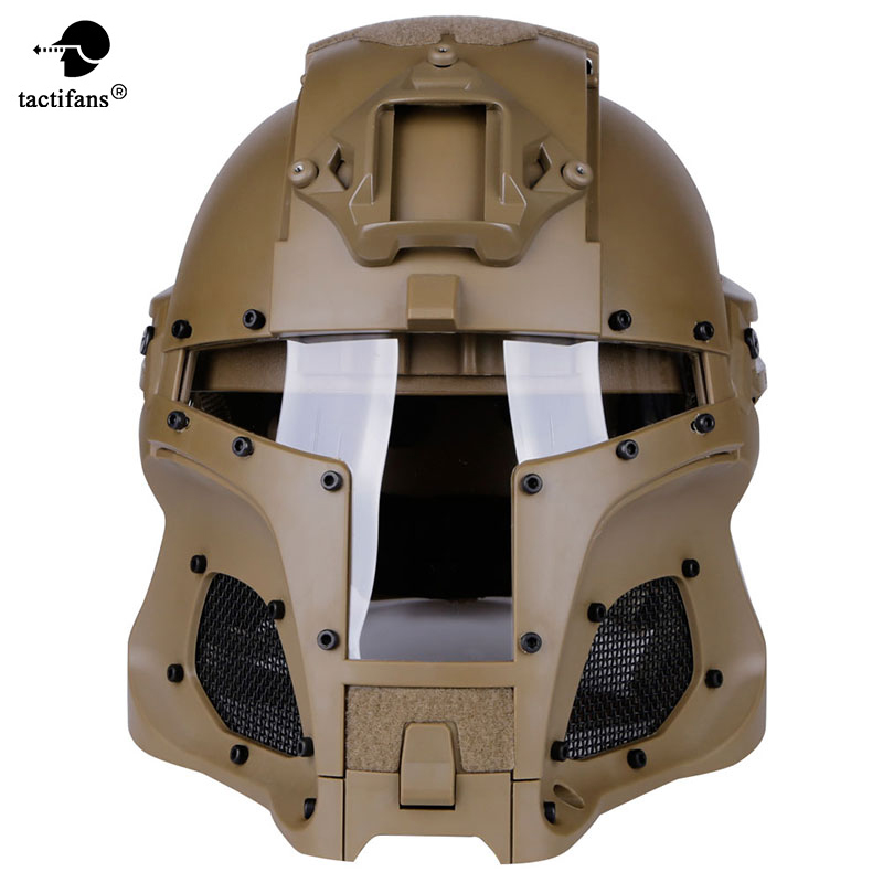 TACTIFANS Tactical Military Paintball Helmet Iron Warrior Airsoft  PC Lens Tactical Helmet Full-Covered Helmets Accessor Shroud