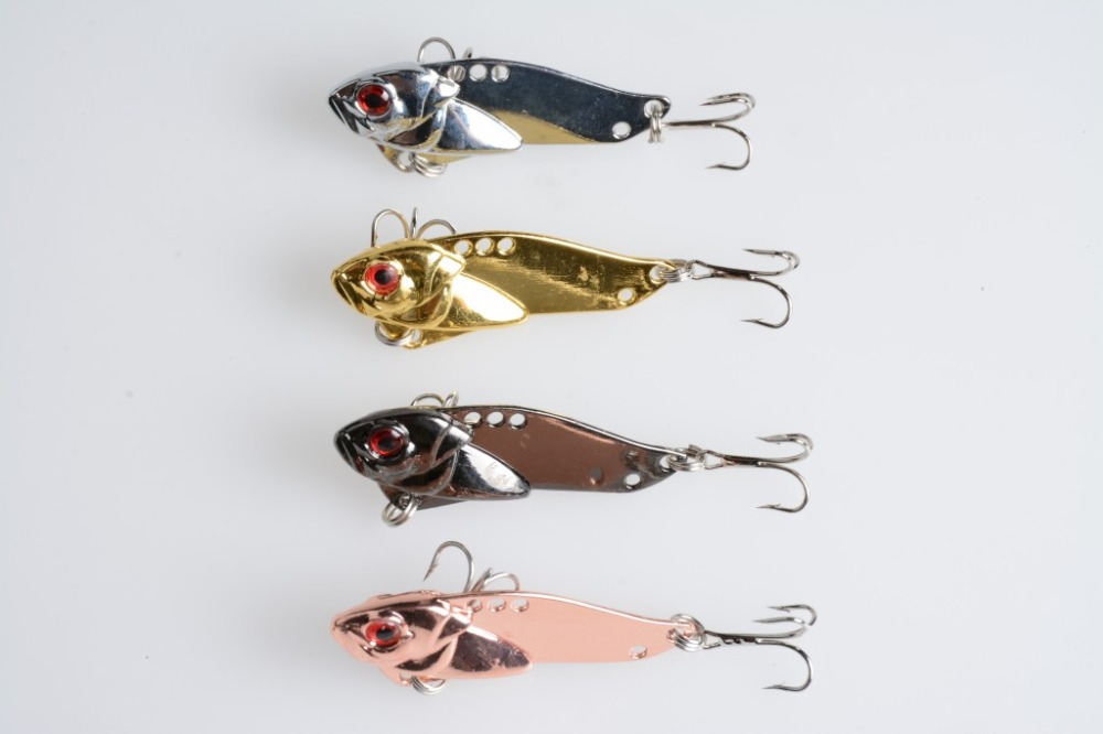 <font><b>4</b></font> <font><b>pcs</b></font> 5cm-11g <font><b>Vibration</b></font> <font><b>metal</b></font> fishing lures <font><b>VIB</b></font> Artificial Fishing Lure Fishing hook <font><b>Hard</b></font> <font><b>baits</b></font> Wobbler fishing tackle(VIB020)