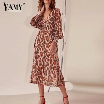 c177d743cd9 Product Offer. Элегантные Длинные рукава платье миди женские леопардовые платье  осеннее ...