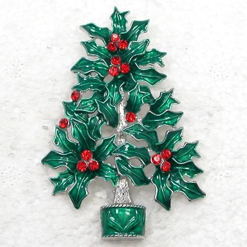 12pcs lot Wholesale Fashion Brooch Rhinestone Enamel Christmas tree Pin brooches Christmas Gift C101667