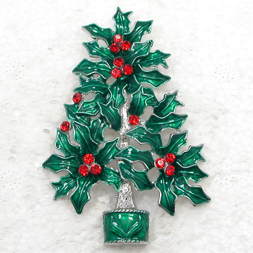 12pcs/lot Wholesale Fashion Brooch Rhinestone Enamel Christmas tree Pin brooches Christmas Gift C101667-in Brooches from Jewelry & Accessories    1