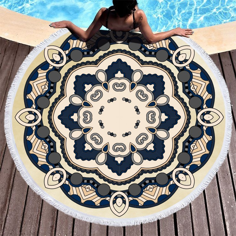 Image 4 - Mandala Flower Beach Towels Large Circle Tassel Beach Towel Microfiber Round Towel Bath Summer Sport Yoga Picnic Toalla De Playa-in Bath Towels from Home & Garden