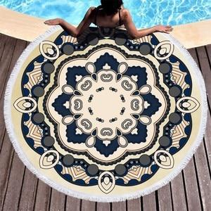 Image 4 - Mandala Flower Beach Towels Large Circle Tassel Beach Towel Microfiber Round Towel Bath Summer Sport Yoga Picnic Toalla De Playa