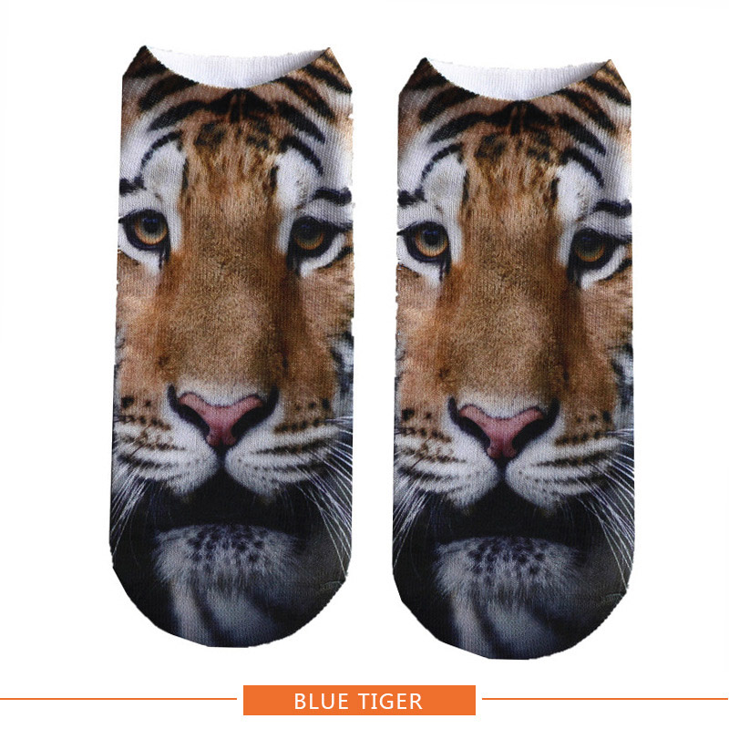 Women New Hot 3D Printed Brand Socks Fashion Unisex Harajuku Tiger Lion Money Series Female Funny Casual Short Ankle Socks