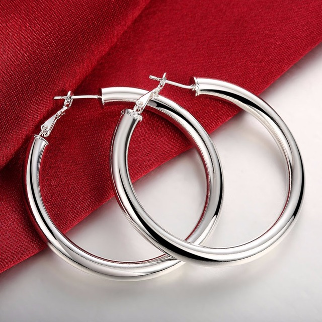 Diameter 5CM Smooth Round Creole 5mm Hollow Circles Hoop earing 925 stamp silver