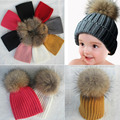 Detachable Real Fox Fur Pompons Baby Hats Warm Knitted Winter Beanie For Boys Girls Pom Pom Thick Kids Lovey Bonnet Hat Cap Bone