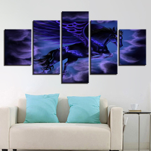 Animal HD Pictures Printing Decor Wall 5 Pieces Horse With Purple Wings Abstract Night View Modular Posters Canvas Paintings Art