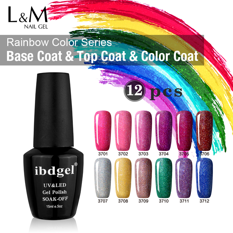 DHL TNT 12 Pcs Rainbow Gel UV Nail Polish Set IBDGEL Nail Polish Professional DIY Gel