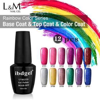 DHL TNT 12 Pcs Rainbow Gel UV Nail Polish Set IBDGEL Nail Polish Professional DIY Gel Uv Nail Lamp Wipe Top Coat Wholesale
