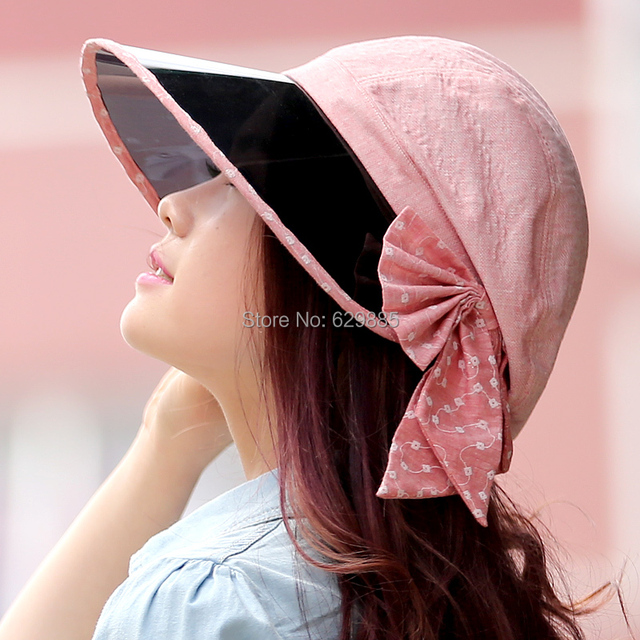 2017 female charm Casual large brim sun anti-uv large bow hat women cap folding sunbonnet