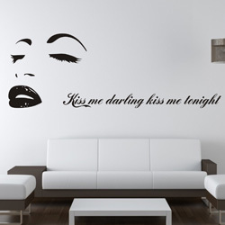 SIZE:1200 X 420mm FASHION Marilyn Monroe Kiss Home Tattoo Wall Art Decals  Stickers Decals Part 79