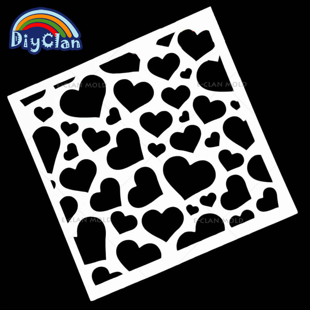 13x13cm Love Heart Shape Design Pattern wedding Cake Stencil template Sieve Tubesheet Cookies decorative stencils P0019