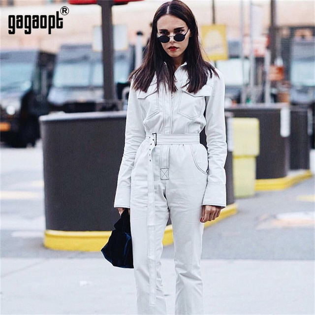 e9977966ac16 Gagaopt 2018 High Street Style Rompers Womens Jumpsuit Elegant Casual Long  Pants Jumpsuit for Ladies With Belt