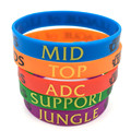LOL Bracelet, League of Legend Wristband, Silicon Bracelet with ADC, JUNGLE, MID, SUPPORT, DOTA 2 Printed Band,50pcs/Lot