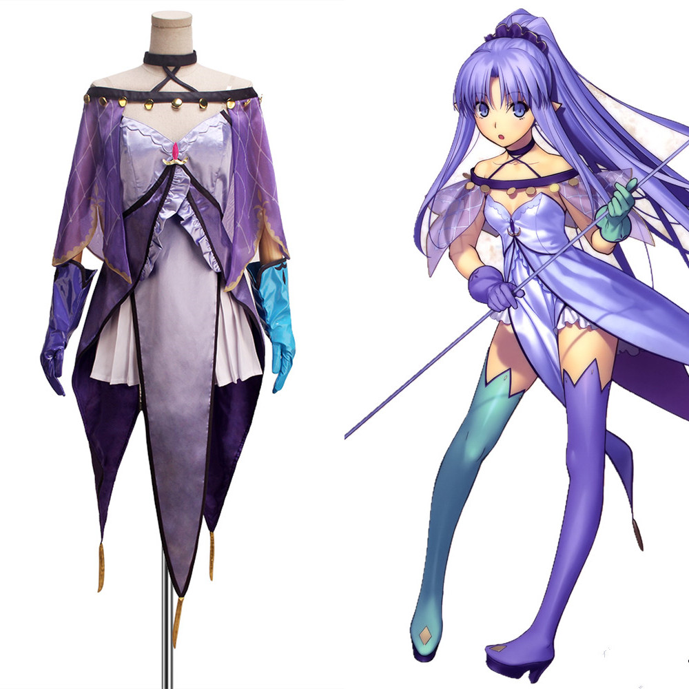 COSPLAYONSEN Fate Grand Order FGO Caster Medea Lily Cosplay Costume Purple Full Set Custom Made Bi-color Gloves