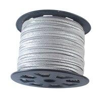 3mm 100 yards/rulo Takı Kolye Bilezik Yapımı için Faux Süet Kordon Konu DIY Aksesuarları Bulgular, gümüş