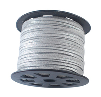 3mm 100yards/roll Faux Suede Cord Thread for Jewelry Necklace Bracelet Making DIY Accessories Findings, Silver