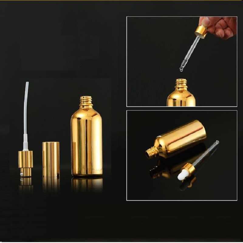 15 ADET Altın Cam uçucu yağ Şişeleri Şişe Kozmetik Serum Ambalaj Losyon Pompası Atomizer Sprey şişe damlalık Şişesi 5/20/ 30 ML