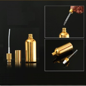 Image 3 - 15PCS Gold Glass Essential Oil Bottles Vial Cosmetic Serum Packaging Lotion Pump Atomizer Spray Bottle Dropper Bottle 5/20/30ML