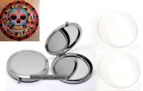 DIY Prata Cromado espelho Compacto Espelho Kit Make pessoal Vem Combinando com Adesivos de Ep