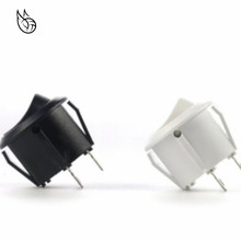 10Pcs AC 6A 10A 250V On Off Snap SPST Round Boat Rocker Switch Black 2Pin Power Switch Push Button Switch Black White Factory 10pcs 2pin spst locking snap in boat rocker switch 6a ac250v 10a 125vac kcd1 106