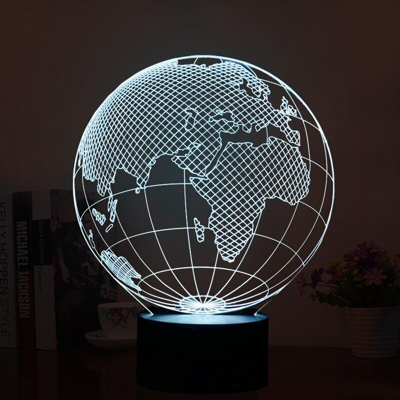 GOLD ILLUMINATING globe terrestre 4 Façon Tactile Lampe De Lumière Table Chambre À Coucher