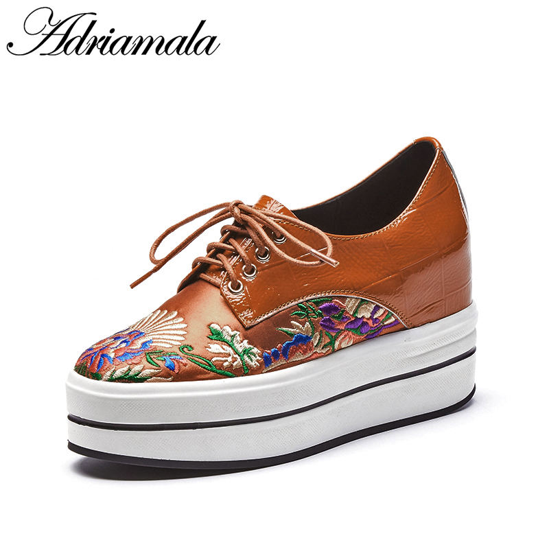 2018 Genuine Leather Women Flat Platform Shoe Round Toe Embroider Brand Designer Leather Lace-up High Heels Dress Shoe Adriamala 2017 embellished sweety girl love pink peach women martin boots short shoe ankle lace up crystal sequins flat round toe shoe