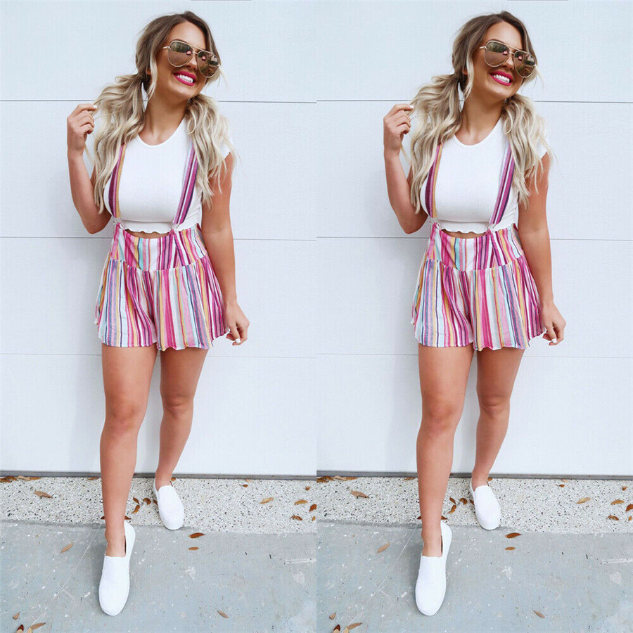 2019 Newest Fashion  Women Summer  Striped Shorts Suspender Trousers High Waist Short Hot Sale